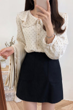 Polka Dot Shirts Button Long Sleeve Ruffled Tops