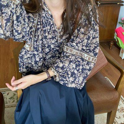 Floral Vintage Tops Lantern Sleeve Elegant Casual Blouse