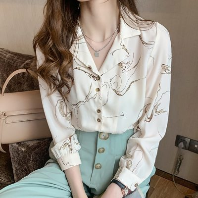 Vintage Print Shirt Long Sleeve Button Notched Chiffon Blouse