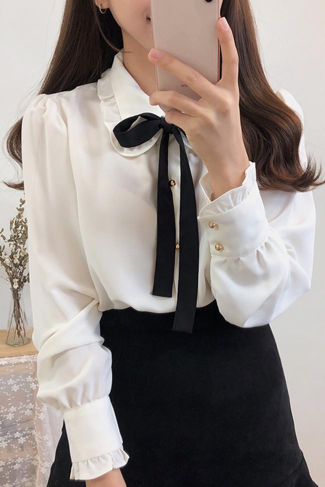 Bow Shirts Long Sleeve Button Chiffon Blouse