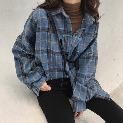 Oversized Plaid Shirts Blouse Cotton Long Sleeve Blouses
