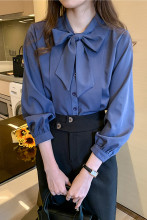 Button Office Lady Long Sleeve Chiffon Shirt Tops