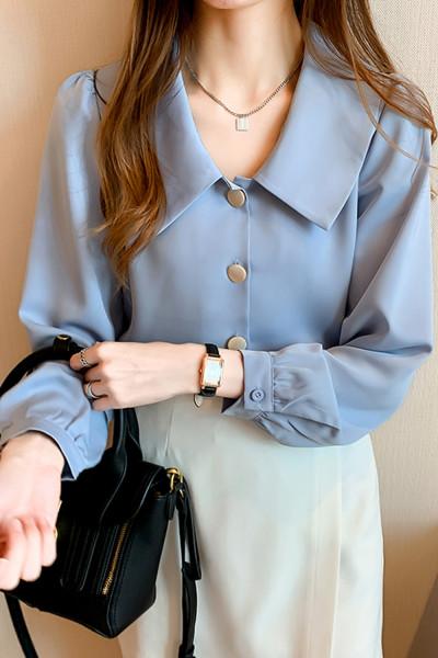 Button Long Sleeve Chiffon Blouse Tops