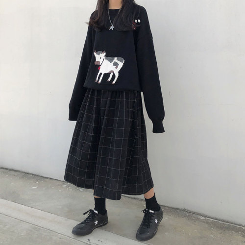 2 colors japanese style high elastic waist Long Skirts plaid A-line pleated Y2K Skirts