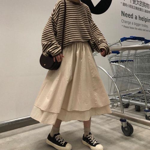 2 colors high elastic waist Long Y2K Skirts solid color irregular A-line Skirts