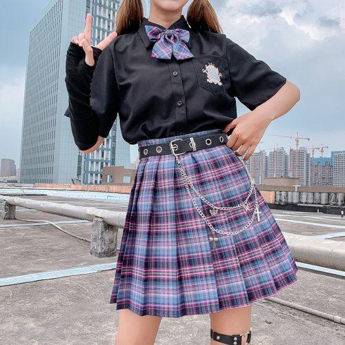 Y2K Skirts 2021 High Waist Korean Style Pleated Skirts for Girls Cute Sweet Ladies Plaid Mini Skirt Women