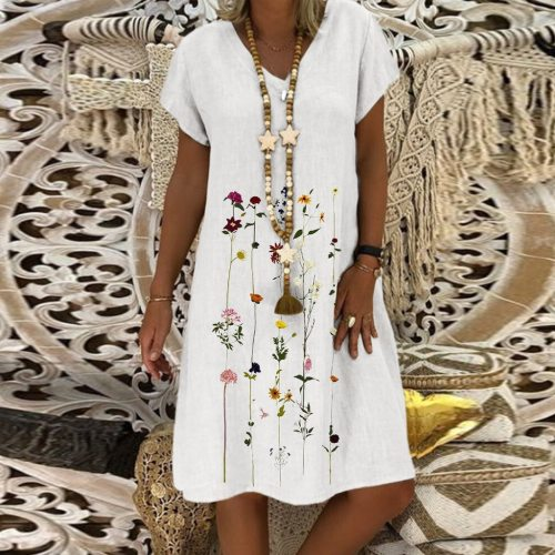 Women Cotton Linen Dress Fashion Floral Printed 2021 Summer Beach Sundress V Neck Short Sleeve Casual Loose Short Dresses