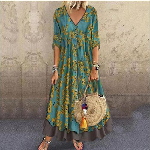 Plus Size Summer 2021 Long Dress Women V-Neck Floral Printed 3/4 Sleeve Maxi Swing Dress Casual Loose Dress