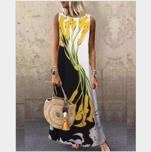 Sundress Women Summer Dress 2021 Printing Sexy Dress Midi Plus Size Casual Linen Loose Sleeveless printed Long Maxi Dress