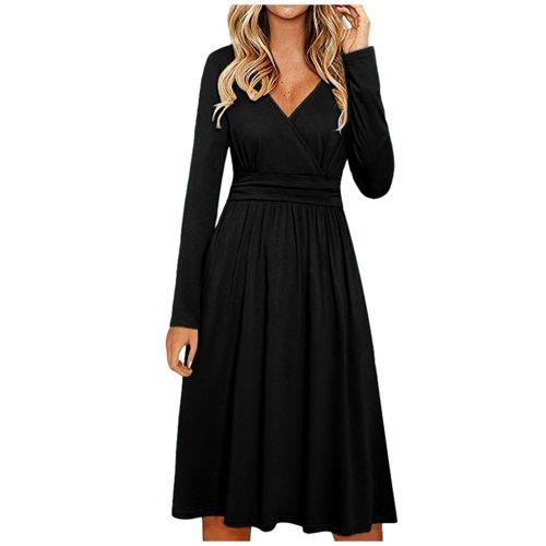 Women's Long Sleeve V-Neck Wrap Waist Casual Fashion Midi Dress