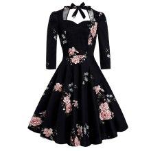 Elegant Floral Retro Midi Summer Dresses Women V Neck 3/4 Sleeve Sexy Backless Black Party Vintage A Line Big Swing Skater Dress