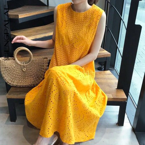 2021 New Summer Women Vintage Loose High Waist Slim Was Thin Elegant Hollow Out Sleeveless Maxi Dress