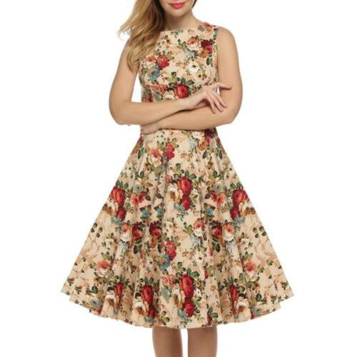 Womens Floral Sleeveless Skater Midi Dress Rockabilly Evening Party Flared Dresses