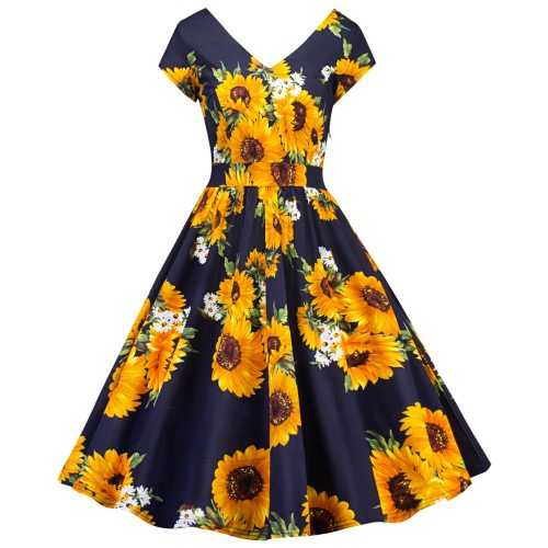 Womens Daisy Midi Swing Dress Long Sleeve Evening Party Floral Skater Dresses