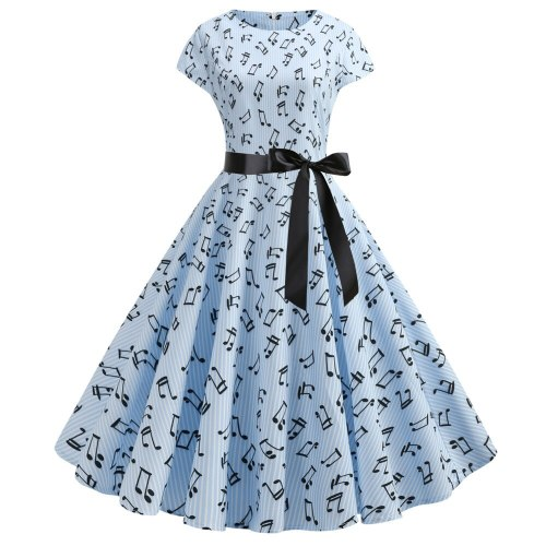 Women's Cap Rong Neck Cocktail Party A-line Skater Tea Swing Dress With Belt