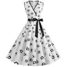 Women's V Neck Cocktail Party A-line Skater Big Polka Dot Dress With Belt