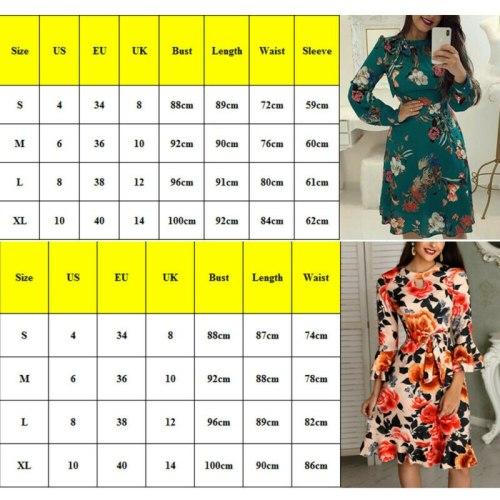 Fashion New Women Floral Printed Elegant Formal Office Work Long Sleeve O-Neck Dress Midi Tunic Bodycon Party Skater Dress