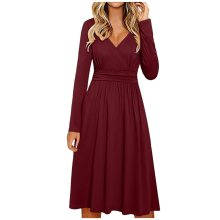 Women's Long Sleeve V-Neck Wrap Waist Casual Fashion Midi Dress