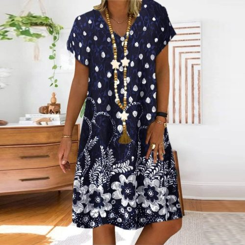 Women Dress Plus Size Ladies Summer Fashion Casual Loose Dot Floral Print Patchwork V-Neck Short Sleeves Dress Sundress
