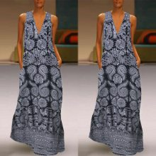 Women Summer Dress Plus Size Print Daily Casual Sleeveless Vintage Bohemian V-Neck Maxi Dress