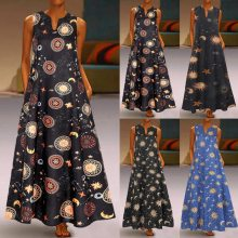 Women Summer Dress Plus Size Sun Stars Moon Print Sleeveless Vintage Bohemian V Neck Maxi Dress