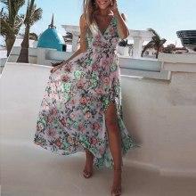 Split Dress Floral Print Summer Women V Neck Spaghetti Strap Party Pink Chiffon Elegant Casual Maxi Dresse