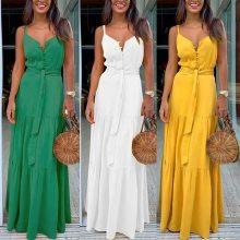 Fashion Women Summer Boho Sleeveless Strappy V-neck Bandage Party Beach Dress