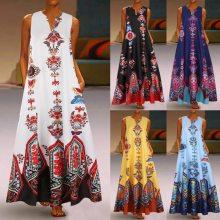 Women Summer Dress Plus Size Vintage Ethnic Style Print Daily Casual Sleeveless Vintage Bohemian V Neck Maxi Dress Sundress