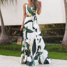 Summer Bohemian Holiday Long Dress Celmia Floral Print Beach Dress Women Sleeveless Maxi Dresses