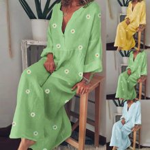 Women Dress Ladies Summer Fashion Casual Daisy Floral Print Long Sleeves Cotton V-Neck Loose Maxi Dress Plus Size