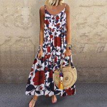 Women Floral Printing Dress Plus Size Loose Sleeveless Boho Retro Linen Long Maxi Dresse