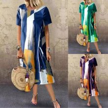 Women Vintage Floral Print Boho Dress Long Maxi Dress Evening Party Beach Summer Dress Short Sleeve Split Dresses