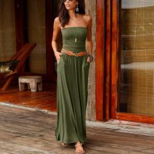 Womens Boho Dress Bandeau Holiday Off Shoulder Strapless Long Dress Casual Summer Solid Maxi Dress