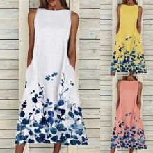 Women Summer Print Beach Holiday Dress Sleeveless O-Neck Big Swing Pocket Maxi Dress
