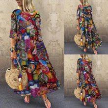 2021 Boho Summer Floral Printed Dress Vintage Bohemian Party Sundress Women Casual Short Sleeve Maxi Long Dresses