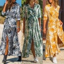 Women Long Dress Floral Leaf Print Summer Spring Maxi Boho Beach Dress Elegant Long Sleeve Chiifon Office Shirt Dress