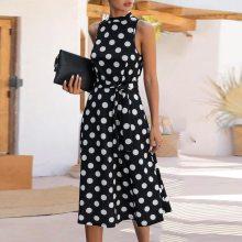 2021 Women Boho Loose Sleeveless Holiday Dot Print Long Maxi Dress Evening Party Beach Dresses Summer Sundress