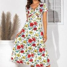 Vintage Floral Print Maxi Dress Women Boho Short Sleeve Long Dress Cross Ruched V Neck Ladies Elegant A-Line Dresses