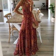 Women's Dress Boho Floral Maxi Dresses V-neck Sling Sleeveless Sundress Beach Elegant Ladies Long Dress