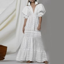 Boho Women Holiday Lace Hollow Out Sundress Puff-Sleeve Solid Deep V-Neck Long Maxi Dress