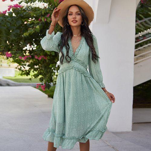 Ladies Vintage Sexy Chiffon Dress Women Casual Long Sleeve Ruffles High Waist Bohemian Spring Summer Women Dress Vestidos Female