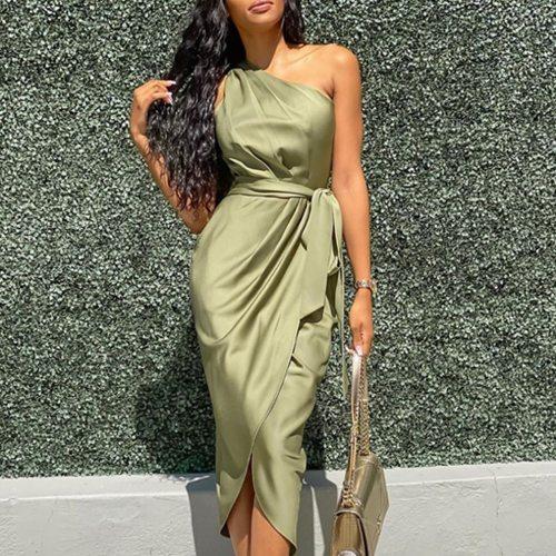 Summer Party Sleeveless Dress Women 2021 Fashion Slim Off Shoulder Ruched Asymmetrical Slit Green Midi Dresses Elegant Vestidos