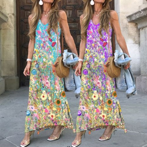 Bohemian Style Print Women Dress 2021 Summer Hot-sale V-neck Spaghetti Straps Maxi Dress