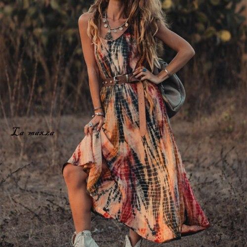 Casual Bohemian Women Dress 2021 Summer Fashion Print O-neck Spaghetti Straps Long Dresses