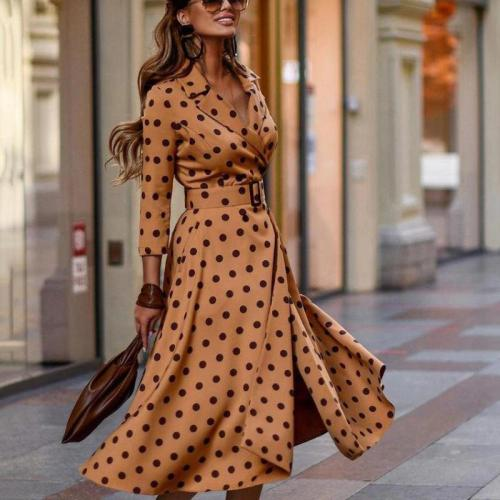 Elegant Dress Spring/autumn Popular Fashion Casual Wave Point Long Sleeve Notched Sexy Dress Collect Waist Hit Color Vestidos