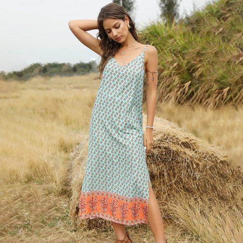 Summer Sexy Spaghetti Strap V Neck Dress Women 2021 New Print Sleeveless Bohemian Long Slim Sling Ladies Dresses