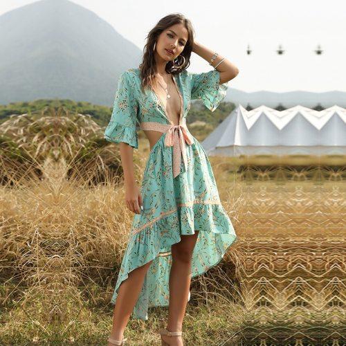 2021 New Women's Sexy Ladies Summer Vintage Print Dress Ladies Flare Sleeve Ruffles V Neck Irregular Lace Up Dress