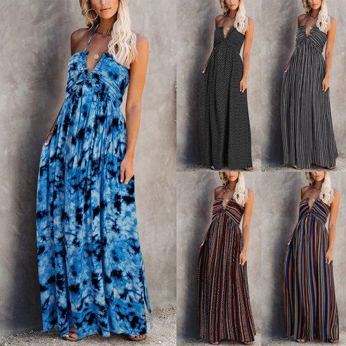 Women's Dresses Halter Strap V Neck Sling Floral Print Long Dress Bohemian Style Sleeveless Striped Elegant Beach Maxi Dress