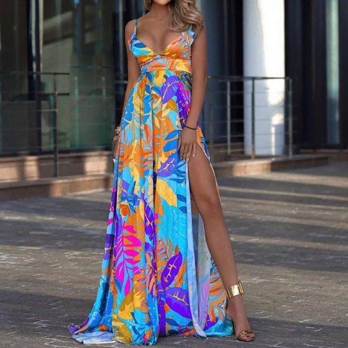 Bohemia Style Dress Women Summer Deep V Neck Cut Out Long Dresses Floral Print Sleeveless High Waist Split Maxi Dress Plus Size