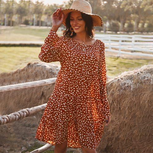 women spring summer pleated A-Line dress 2021 Full Sleeves O-Neck Dots Printing Women's Dresses Casual loose cotton dress